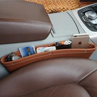 Storage Mobile Container Boxes Car Seat Organizer Box Slit Gap Pocket Leather For Books/Phones/Cards